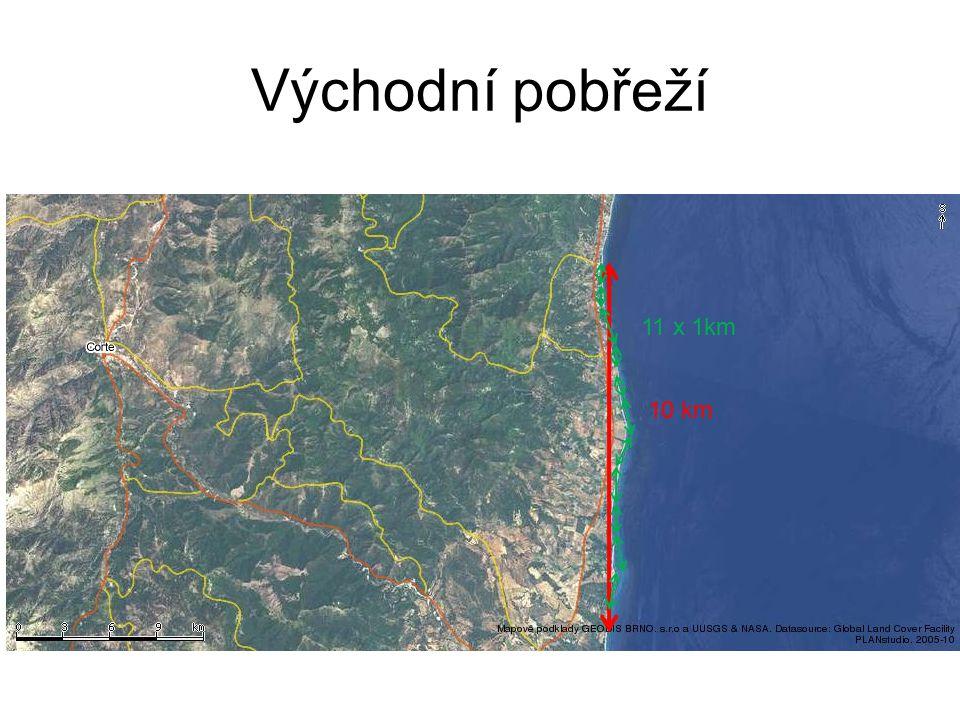 Východní pobřeží 11 x 1km 10 km