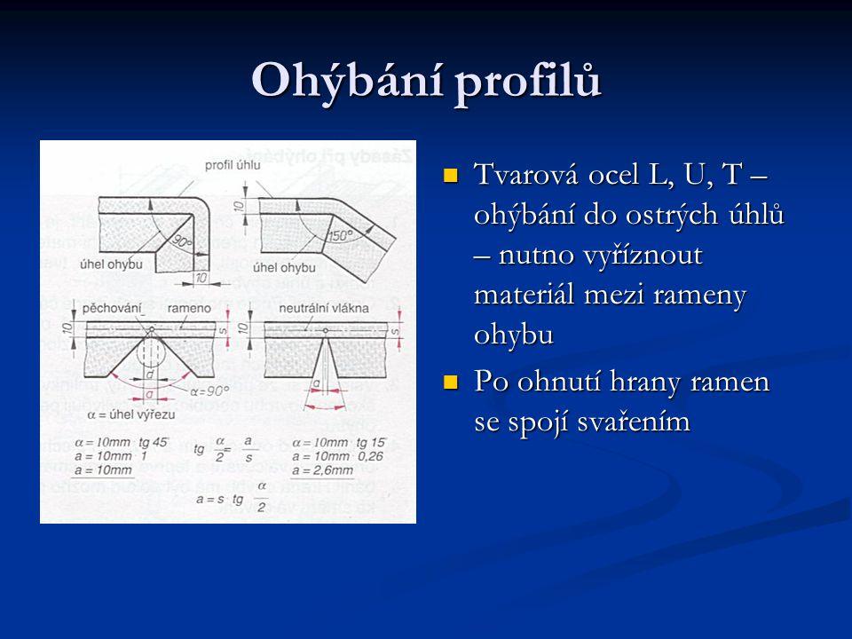 Ohýbání profilů Tvarová ocel L, U, T – ohýbání do ostrých úhlů – nutno vyříznout materiál mezi rameny ohybu.