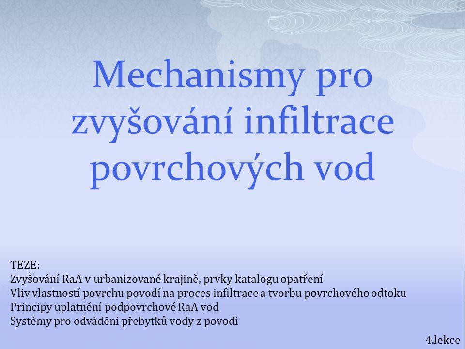 Mechanismy pro zvyšování infiltrace povrchových vod