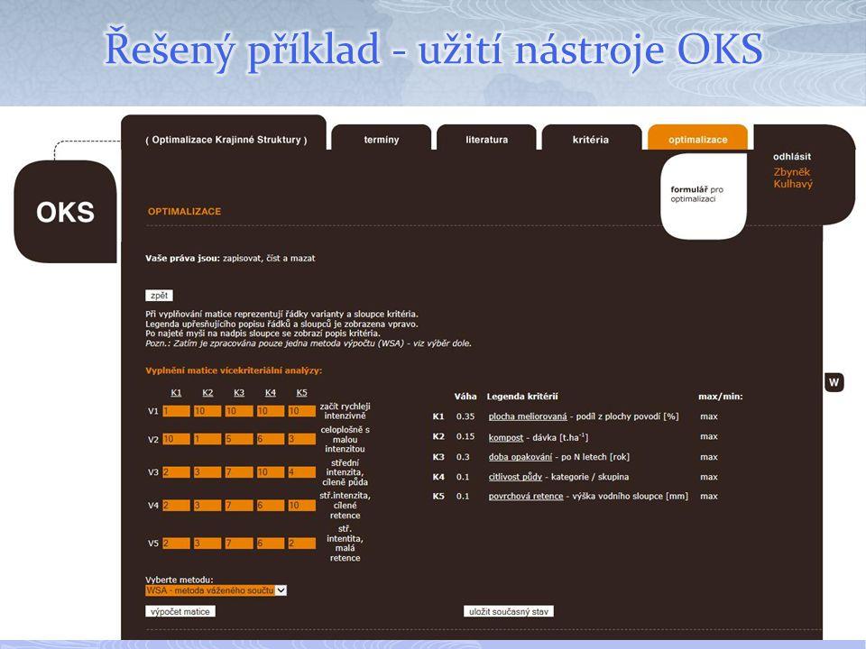 Řešený příklad - užití nástroje OKS