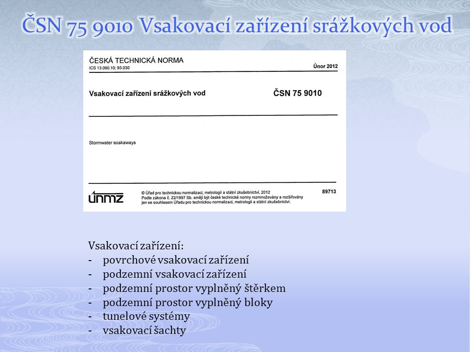 ČSN 75 9010 Vsakovací zařízení srážkových vod
