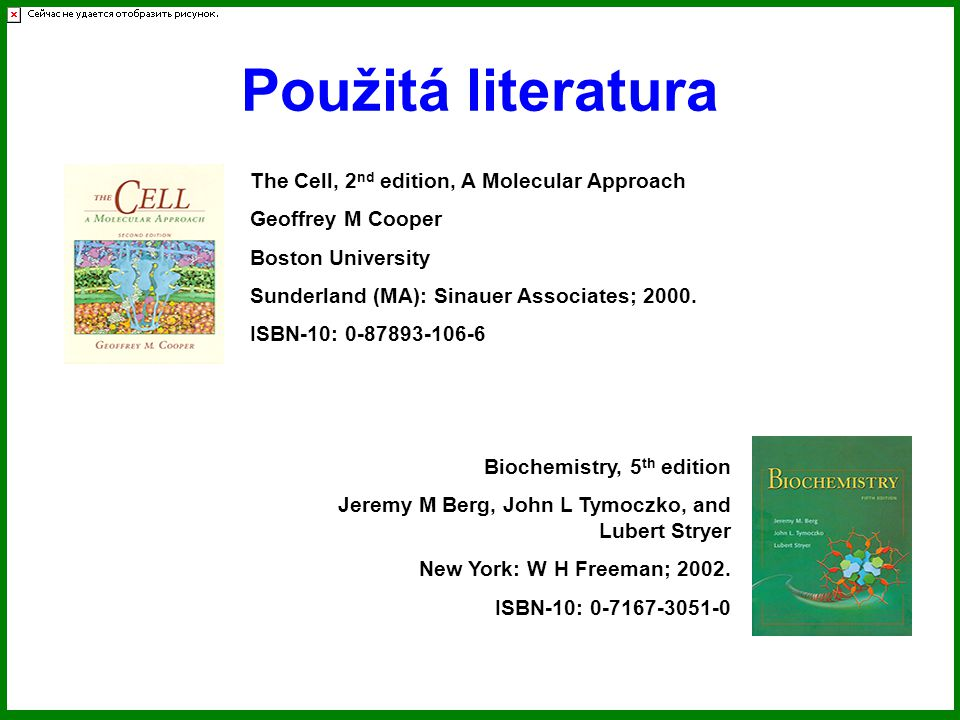 Použitá literatura The Cell, 2nd edition, A Molecular Approach