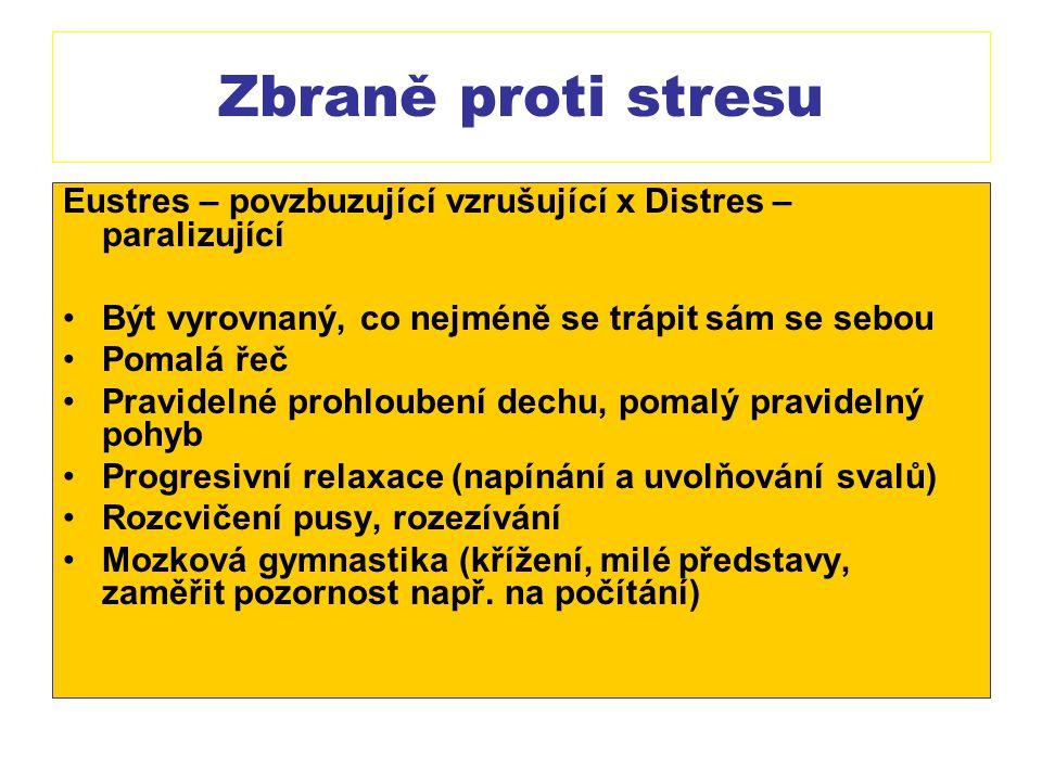 Zbraně proti stresu Eustres – povzbuzující vzrušující x Distres – paralizující. Být vyrovnaný, co nejméně se trápit sám se sebou.