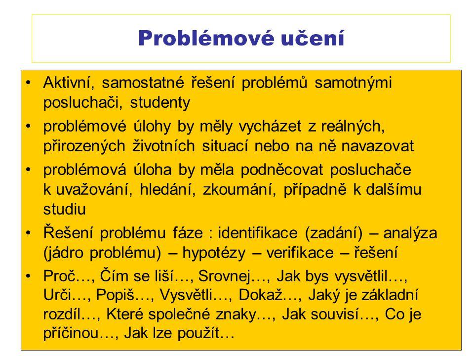 Problémové učení Aktivní, samostatné řešení problémů samotnými posluchači, studenty.