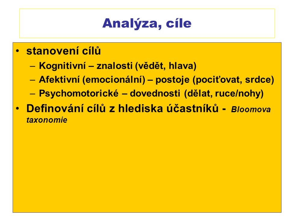 Analýza, cíle stanovení cílů