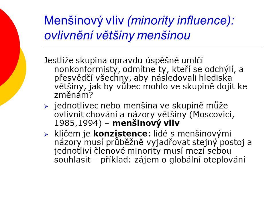 Menšinový vliv (minority influence): ovlivnění většiny menšinou