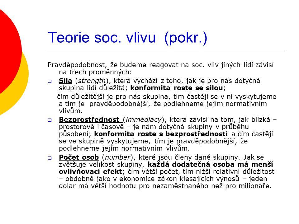 Teorie soc. vlivu (pokr.)