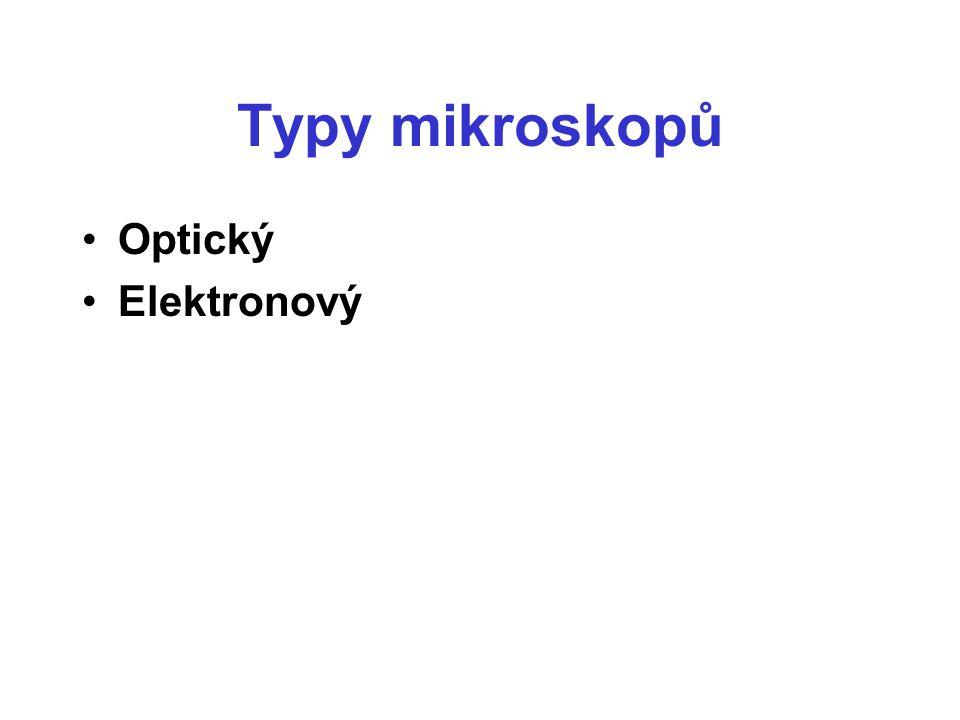 Typy mikroskopů Optický Elektronový