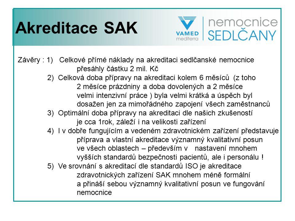 Akreditace SAK Závěry : 1) Celkové přímé náklady na akreditaci sedlčanské nemocnice. přesáhly částku 2 mil. Kč.