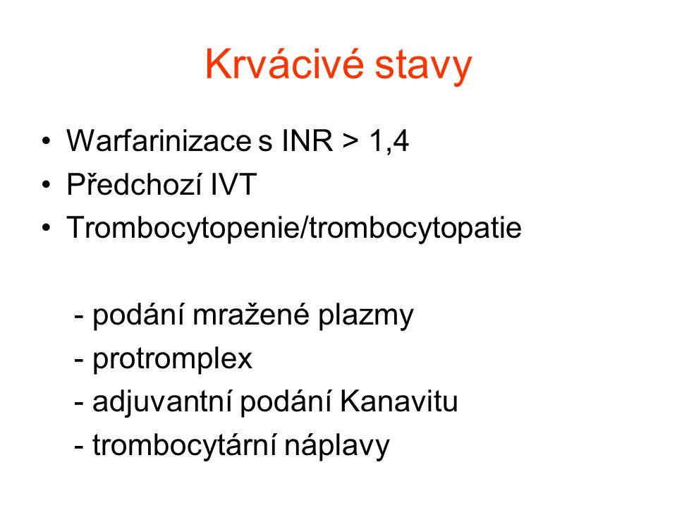 Krvácivé stavy Warfarinizace s INR > 1,4 Předchozí IVT