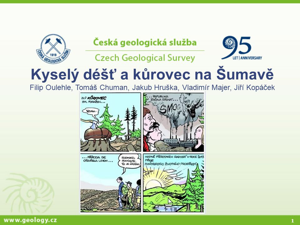 Kyselý déšť a kůrovec na Šumavě Filip Oulehle, Tomáš Chuman, Jakub Hruška, Vladimír Majer, Jiří Kopáček