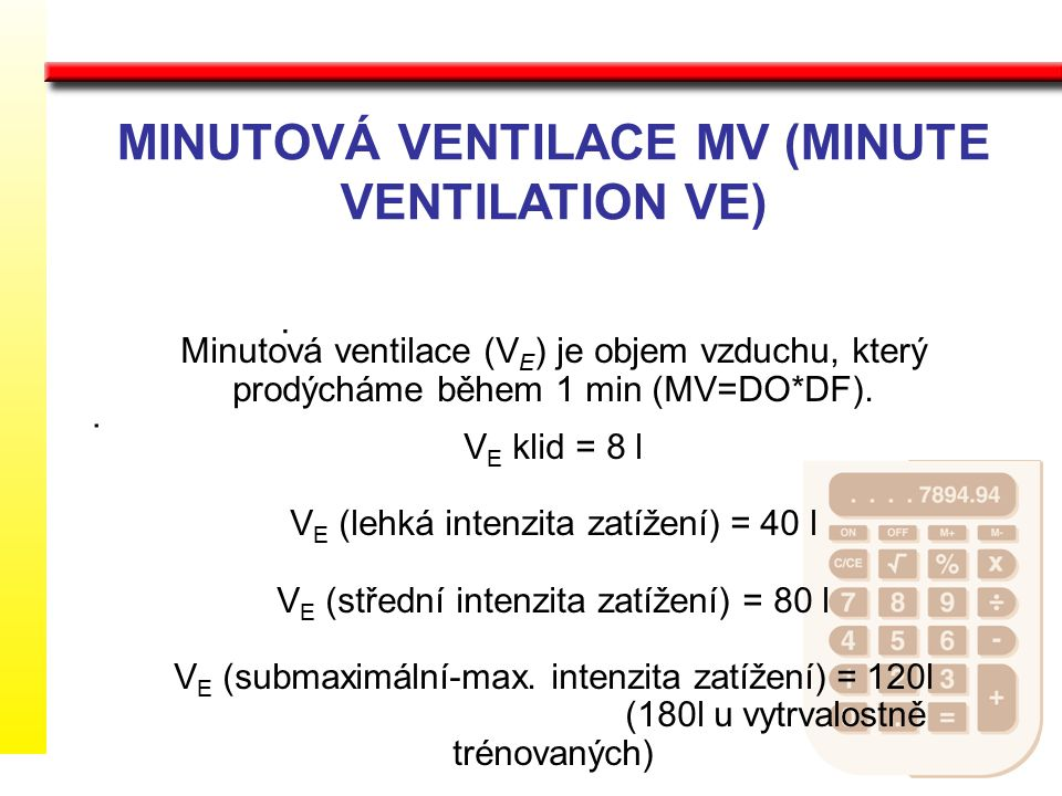 MINUTOVÁ VENTILACE MV (MINUTE VENTILATION VE)