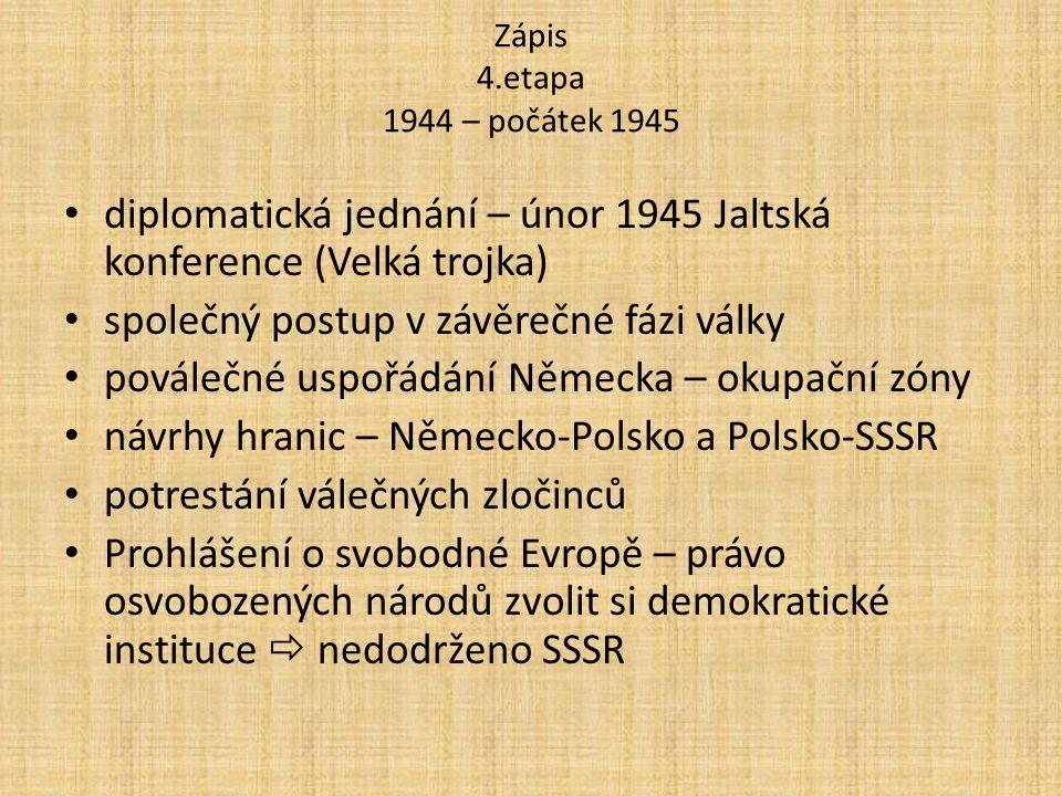 diplomatická jednání – únor 1945 Jaltská konference (Velká trojka)
