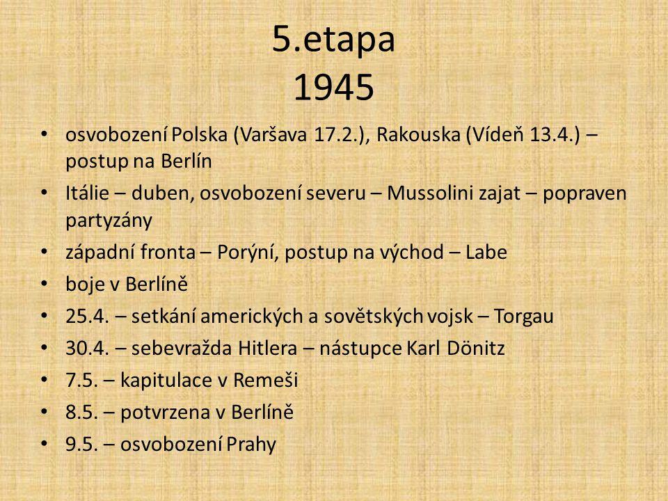 5.etapa 1945 osvobození Polska (Varšava 17.2.), Rakouska (Vídeň 13.4.) – postup na Berlín.