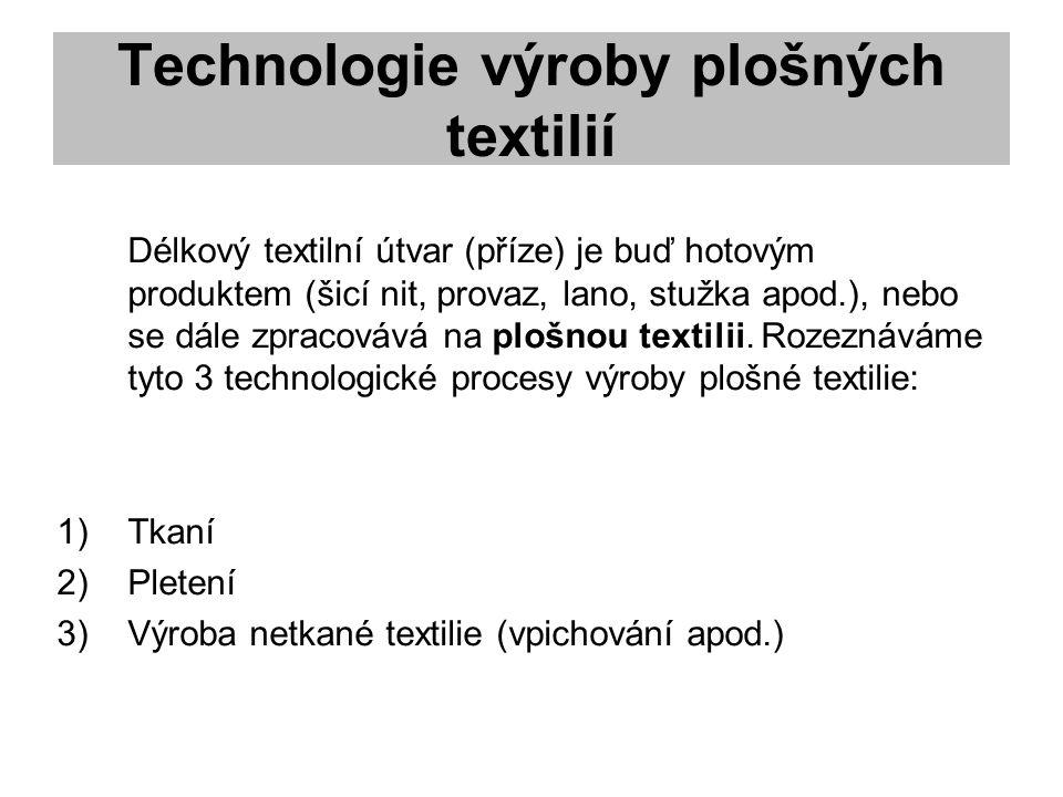 Technologie výroby plošných textilií