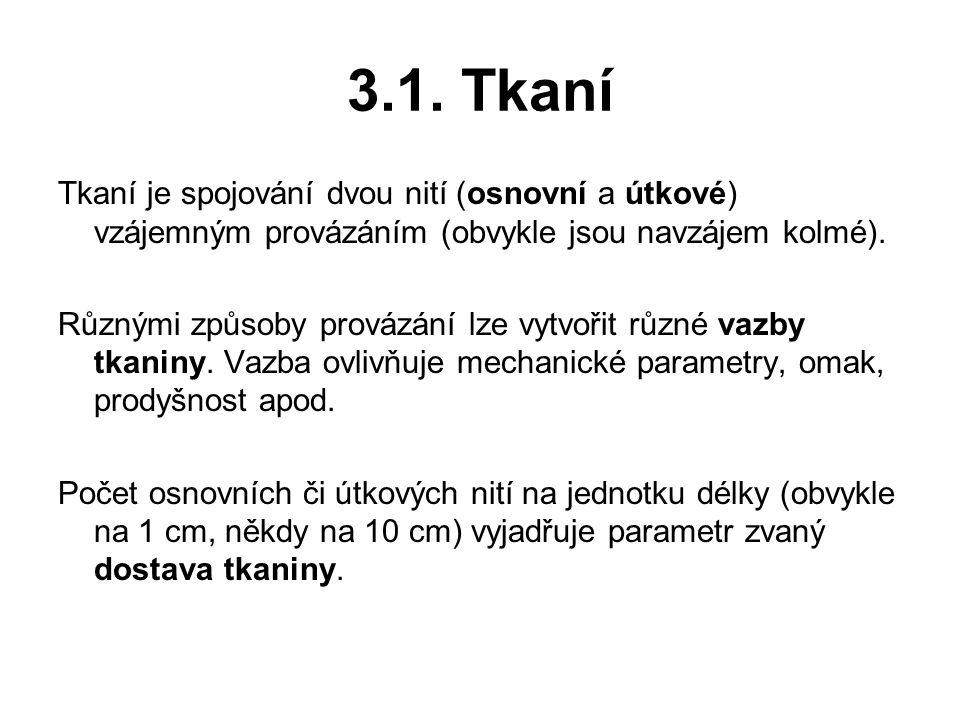 3.1. Tkaní Tkaní je spojování dvou nití (osnovní a útkové) vzájemným provázáním (obvykle jsou navzájem kolmé).