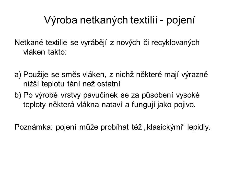Výroba netkaných textilií - pojení