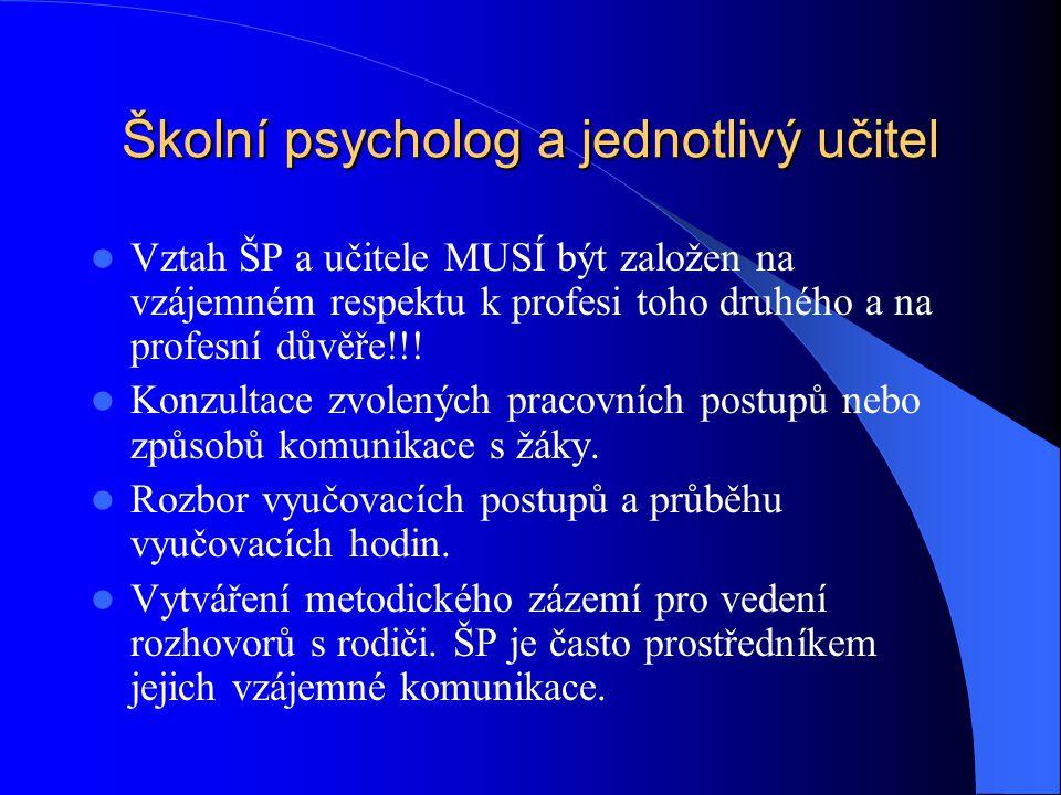 Školní psycholog a jednotlivý učitel