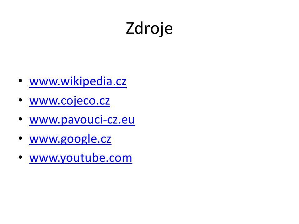 Zdroje www.wikipedia.cz www.cojeco.cz www.pavouci-cz.eu www.google.cz