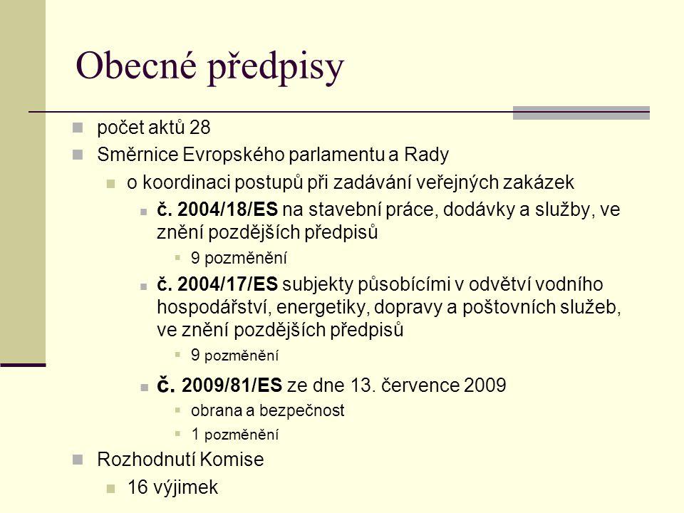 Obecné předpisy č. 2009/81/ES ze dne 13. července 2009 počet aktů 28