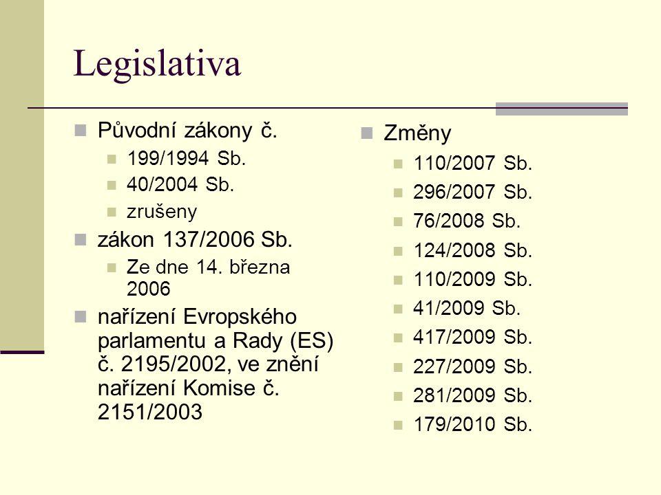 Legislativa Původní zákony č. zákon 137/2006 Sb.