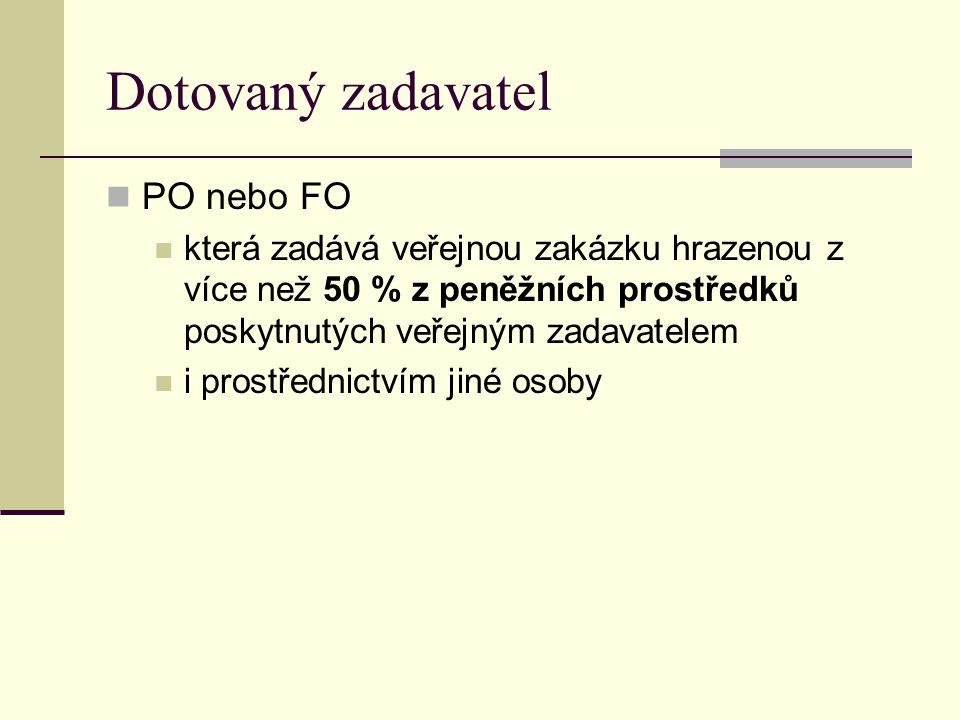 Dotovaný zadavatel PO nebo FO