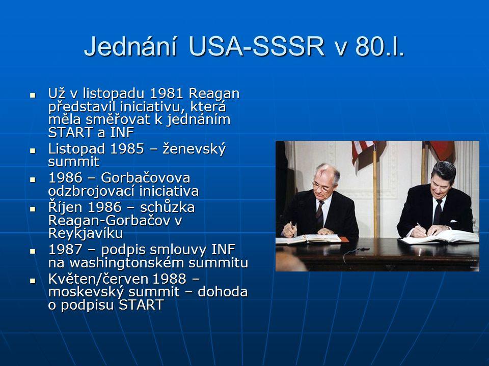 Jednání USA-SSSR v 80.l. Už v listopadu 1981 Reagan představil iniciativu, která měla směřovat k jednáním START a INF.
