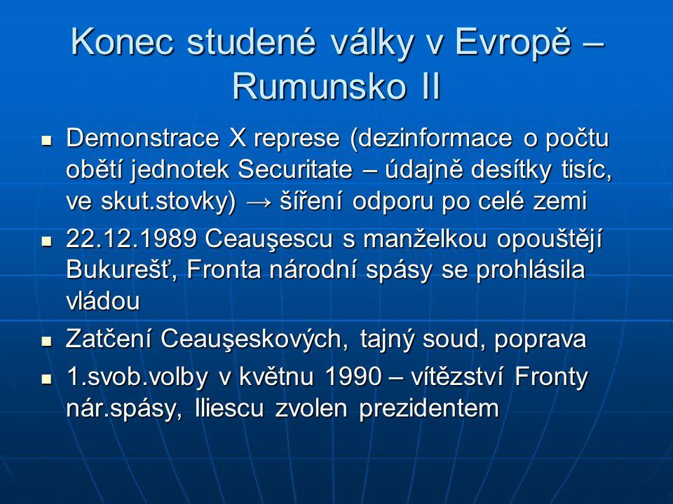 Konec studené války v Evropě – Rumunsko II