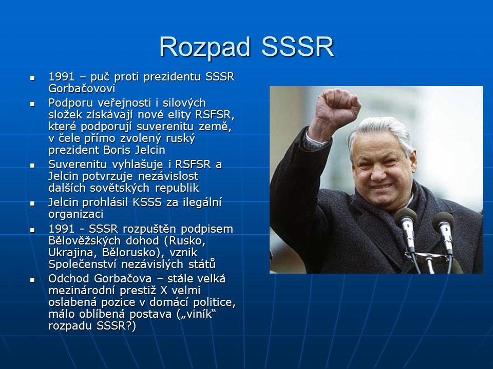 Rozpad SSSR 1991 – puč proti prezidentu SSSR Gorbačovovi