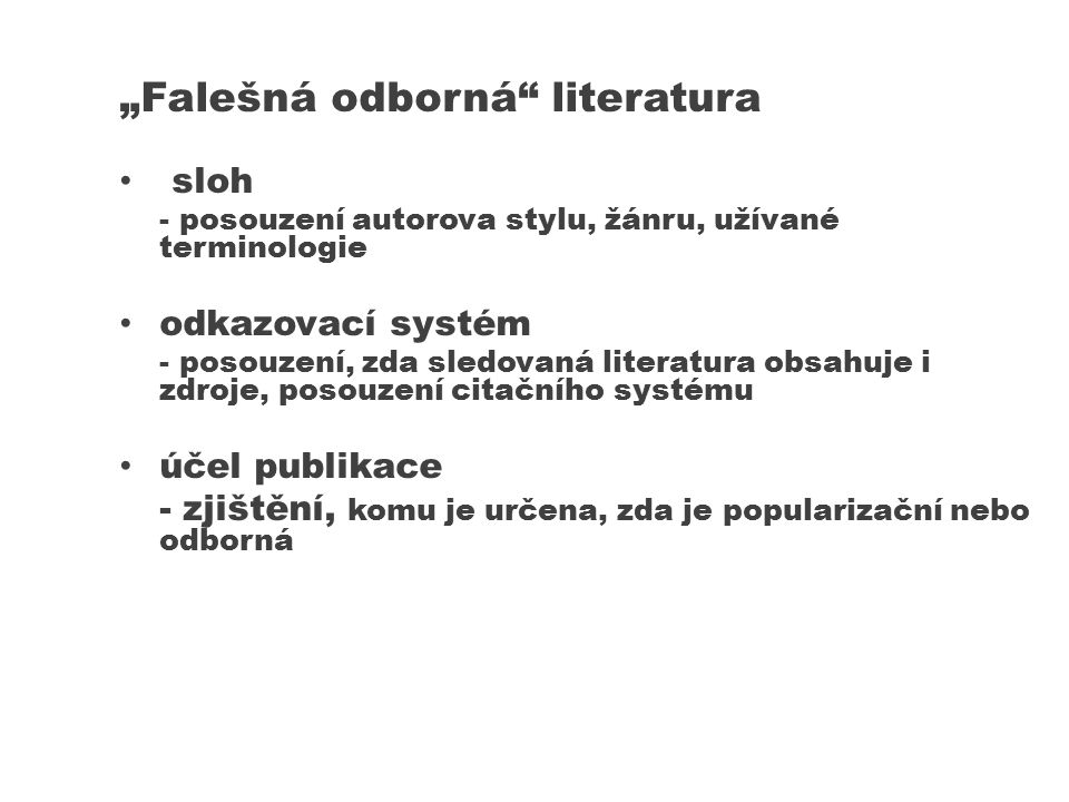 """""""Falešná odborná literatura"""