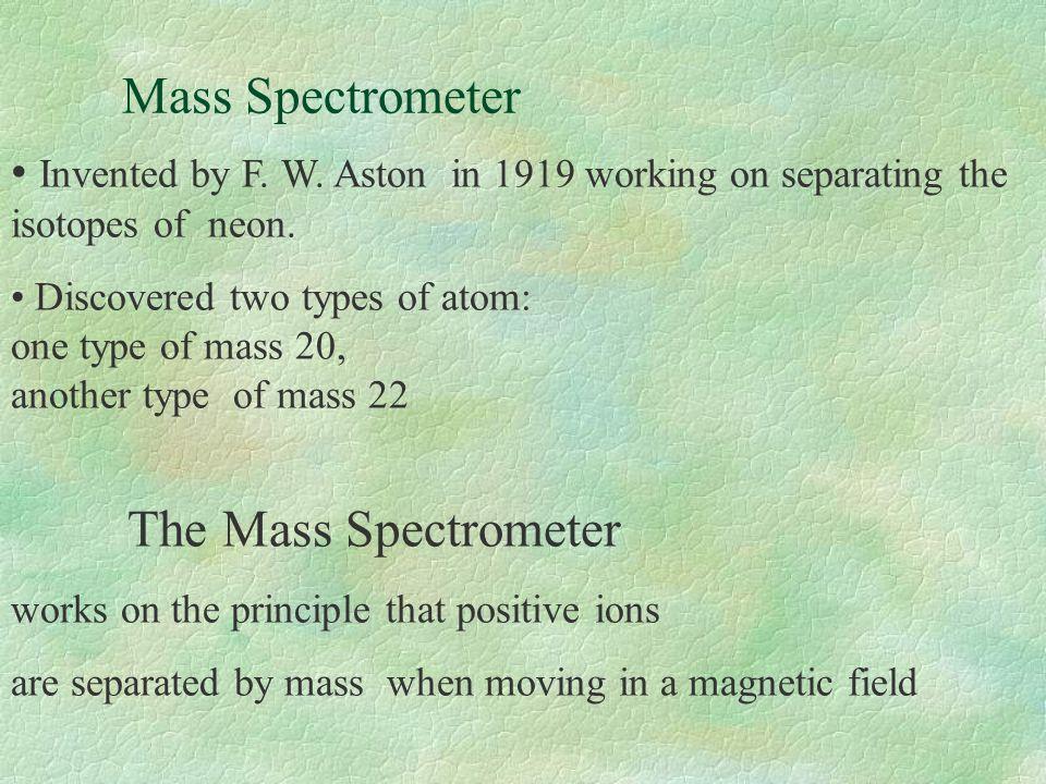Mass Spectrometer The Mass Spectrometer