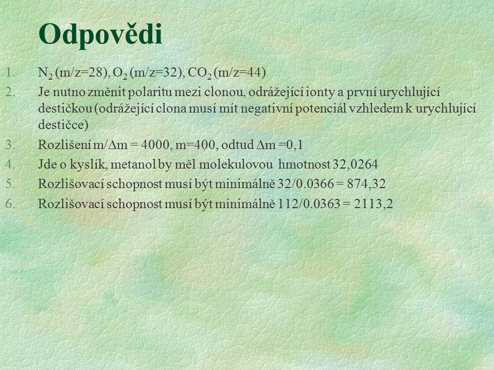 Odpovědi N2 (m/z=28), O2 (m/z=32), CO2 (m/z=44)