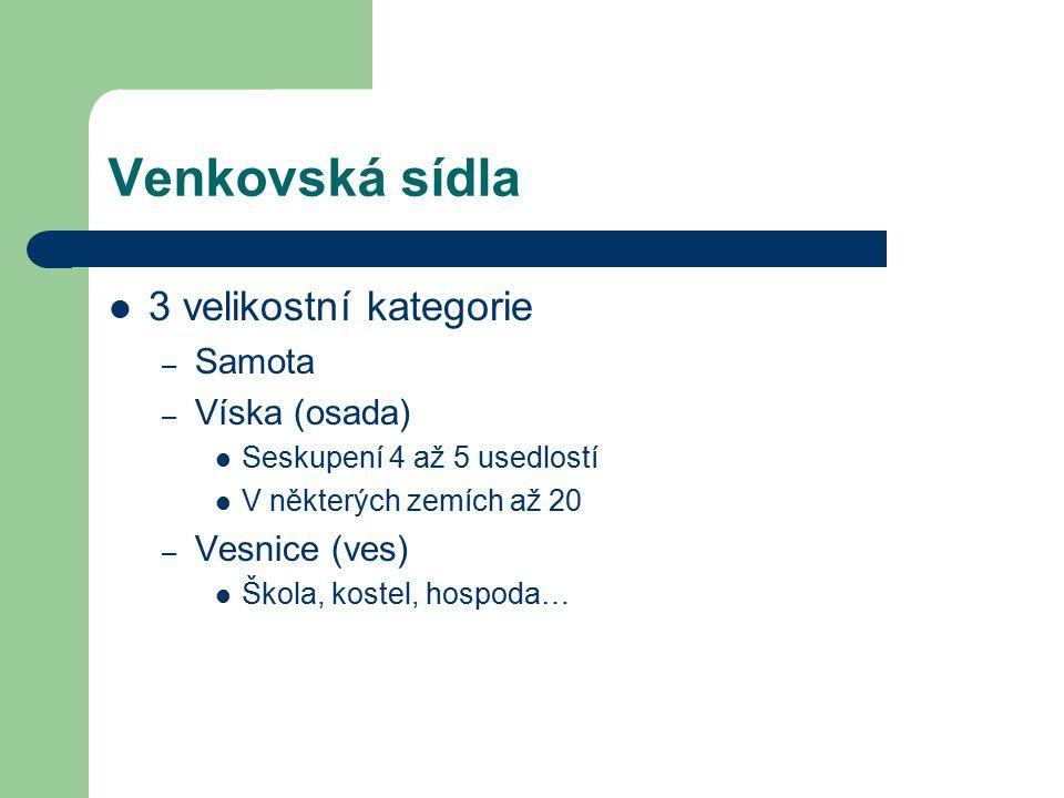 Venkovská sídla 3 velikostní kategorie Samota Víska (osada)