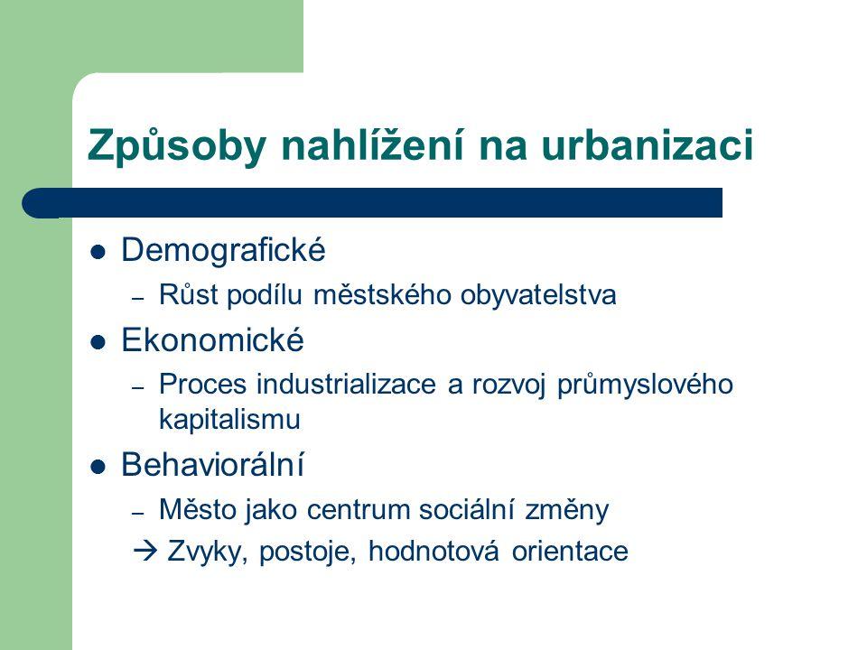 Způsoby nahlížení na urbanizaci