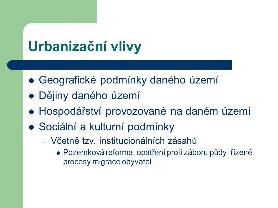 Urbanizační vlivy Geografické podmínky daného území