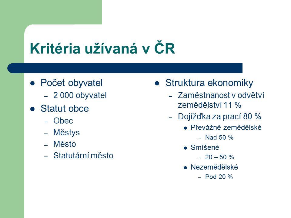Kritéria užívaná v ČR Počet obyvatel Statut obce Struktura ekonomiky