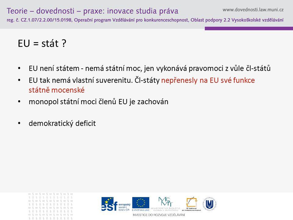 EU = stát EU není státem - nemá státní moc, jen vykonává pravomoci z vůle čl-států.