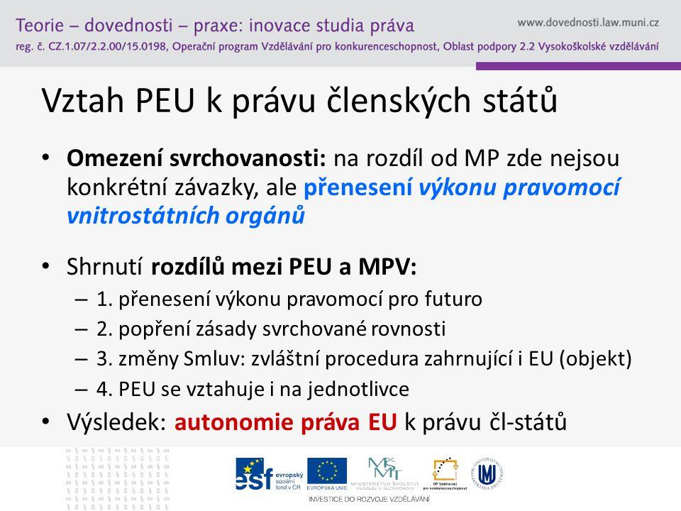Vztah PEU k právu členských států