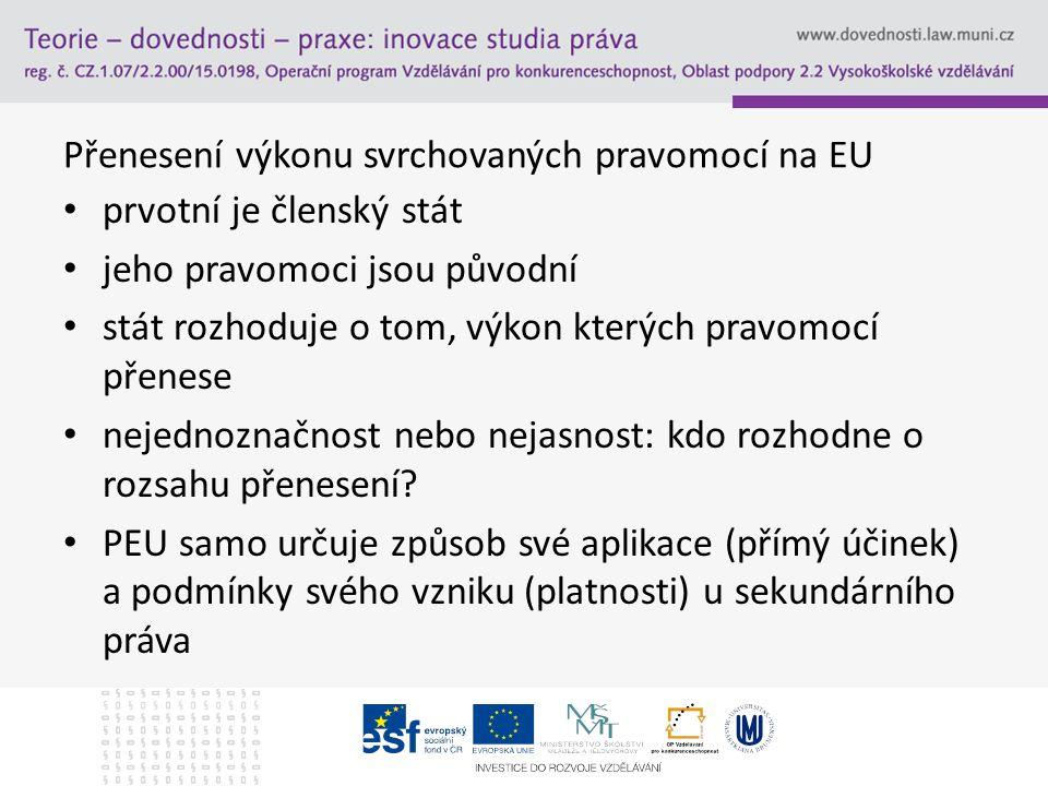 Přenesení výkonu svrchovaných pravomocí na EU