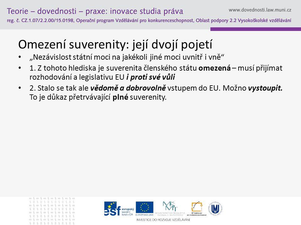 Omezení suverenity: její dvojí pojetí