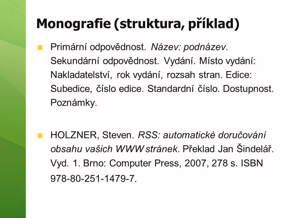 Monografie (struktura, příklad)