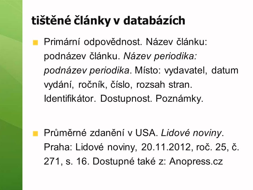 tištěné články v databázích