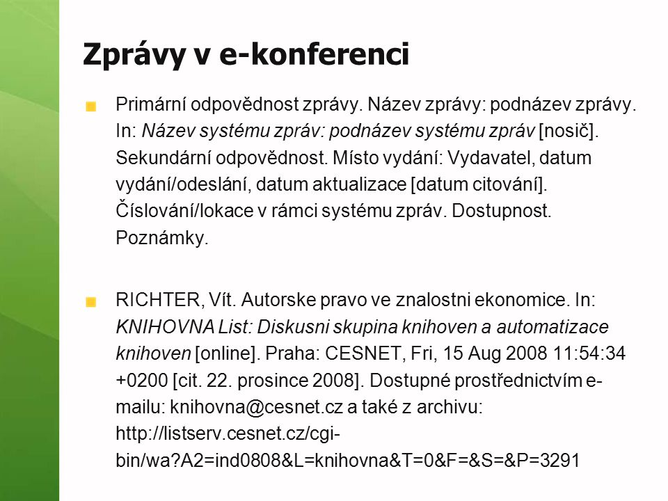 Zprávy v e-konferenci