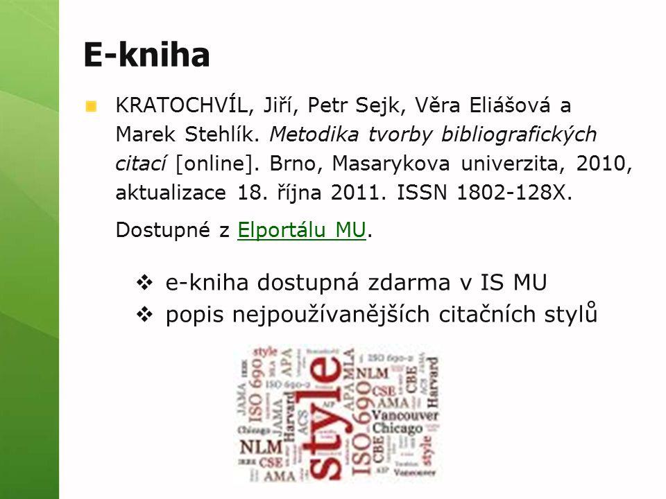 E-kniha e-kniha dostupná zdarma v IS MU