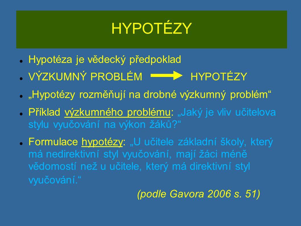 HYPOTÉZY Hypotéza je vědecký předpoklad VÝZKUMNÝ PROBLÉM HYPOTÉZY