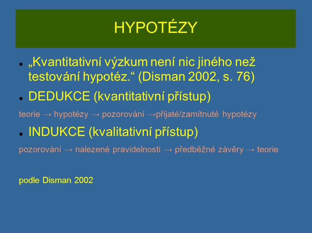 """HYPOTÉZY """"Kvantitativní výzkum není nic jiného než testování hypotéz. (Disman 2002, s. 76) DEDUKCE (kvantitativní přístup)"""