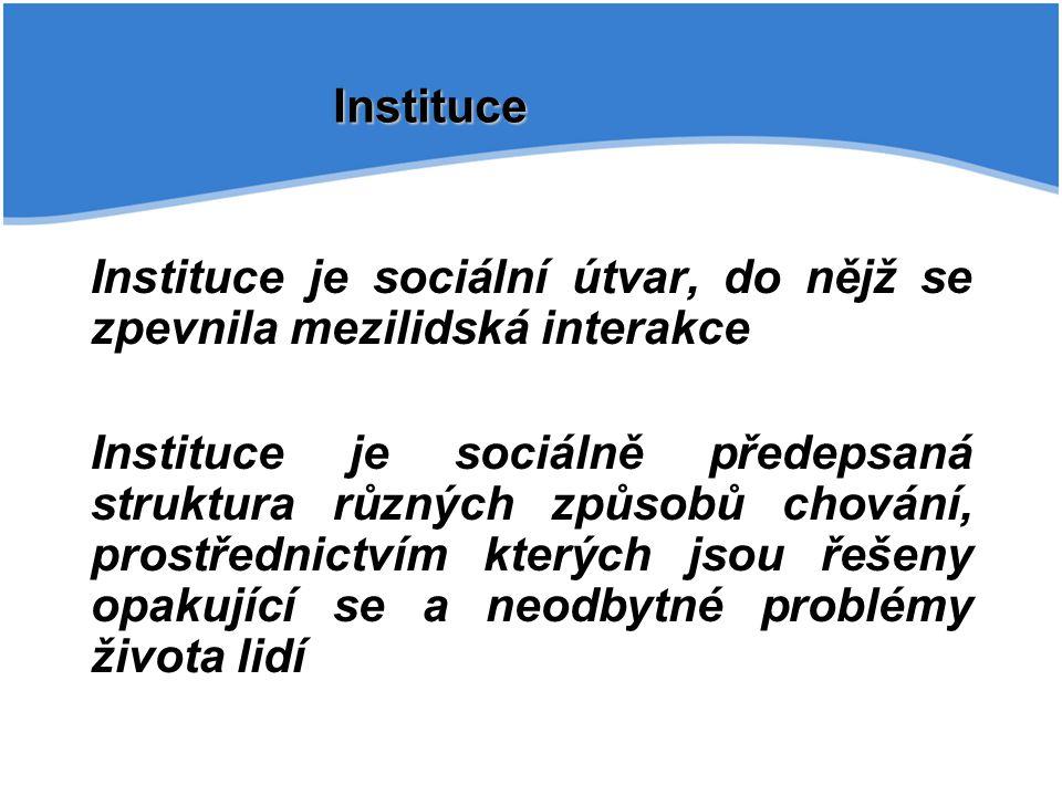 Instituce Instituce je sociální útvar, do nějž se zpevnila mezilidská interakce.