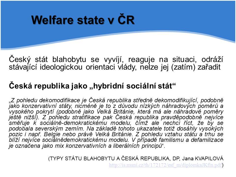 Welfare state v ČR Český stát blahobytu se vyvíjí, reaguje na situaci, odráží stávající ideologickou orientaci vlády, nelze jej (zatím) zařadit.