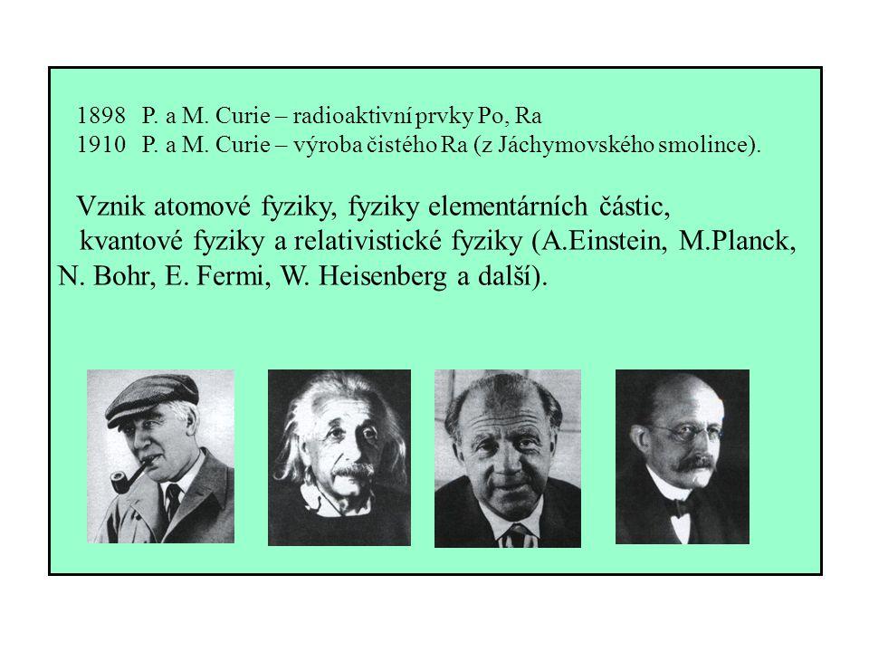 1898 P. a M. Curie – radioaktivní prvky Po, Ra