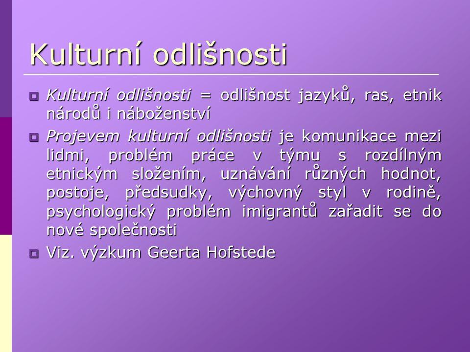 Kulturní odlišnosti Kulturní odlišnosti = odlišnost jazyků, ras, etnik národů i náboženství.